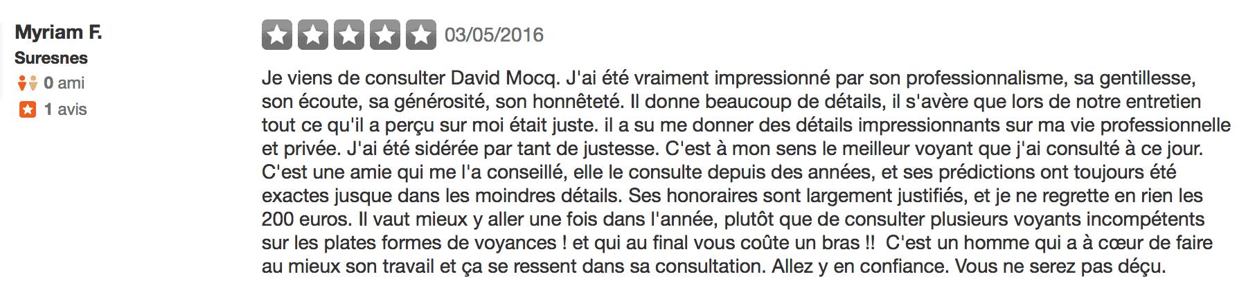 Avis David Mocq - Yelp 5