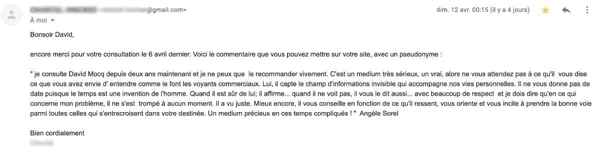 David Mocq Avis voyance de Angele Sorel